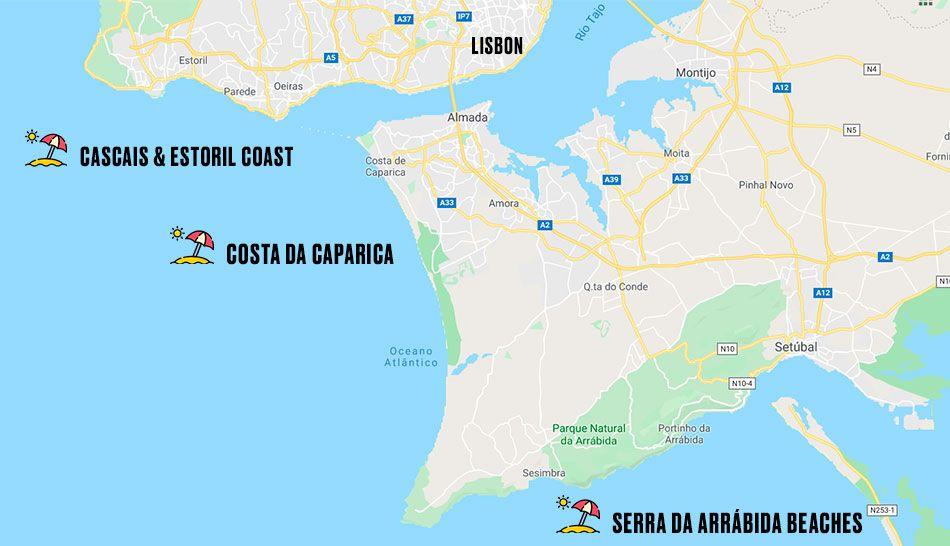 best beaches in Lisbon